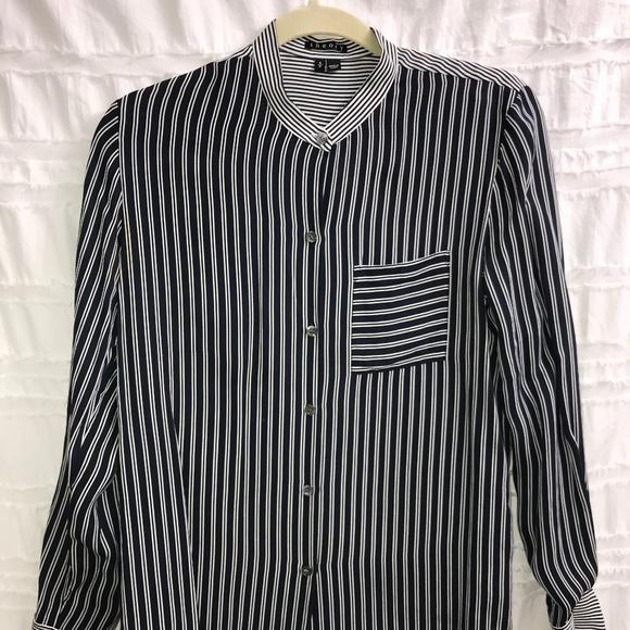 51add4e5e618d4 Theory Tops | Ziria Main Stripe Silk Blouse | Poshmark